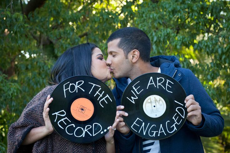 engagement announcement idea but cuter. Maybe a shot of the ring on the record player.