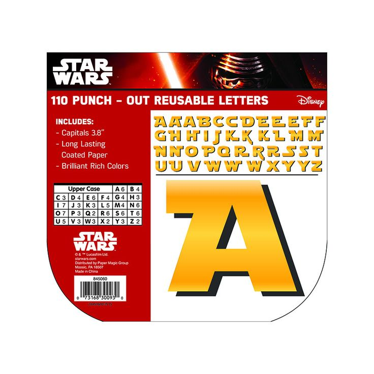"""Each punch-out, reusable letter measures 4"""", printed on long-lasting coated paper. Contains 110 characters."""