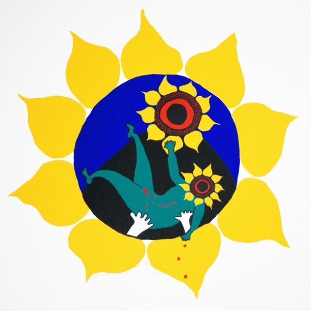 Joe Sosa,  Sunflower Madonna and Child, 1995,  Screenprint, #LatinoArt #MexicanAmericanArt #serigraphy #printmaking
