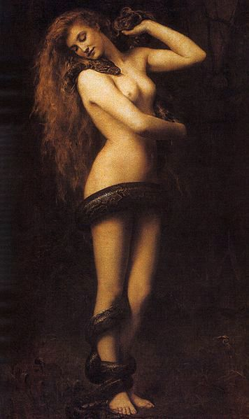 Lilith   John Collier 1887 In folklore Lilith was the first wife of Adam made of Earth as Adam. When she refused to be submissive she was banished from The Garden of Eden and Adam was given Eve. Eve was made from his rib to ensure her obedience to Adam.