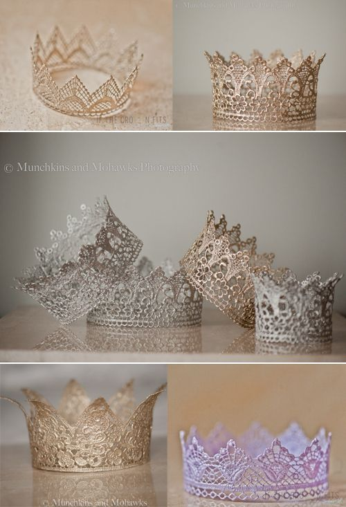 DIY Lace Crowns! (Picture from: http://www.duetletterpress.com/blog/2012/03/if-the-crown-fits/)