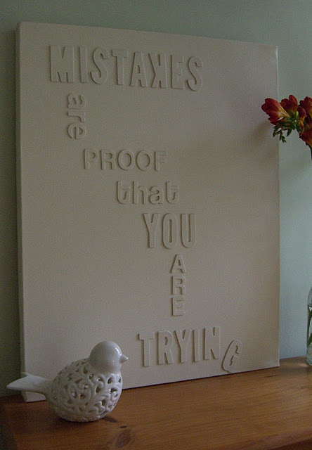 DIY Canvas Wall Art with Wooden Letters by helen at http://craftimperfect.blogspot.com/2011/11/counterfeit-kit-challenge-blog-hop-home.html