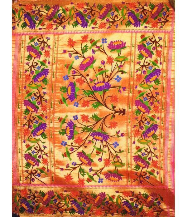 Colorful flower work Handloom Paithani Saree