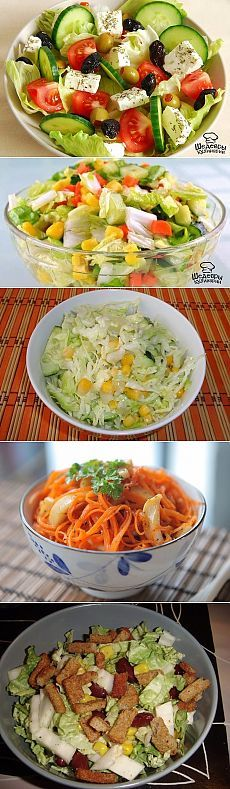 САЛАТЫ БЕЗ МАЙОНЕЗА !!!  **Топ -7 рецептов: Овощной Микс -с фетой и маслинами; Цветной -пекин/капуста, огурцы,морковь; Огурчик -капуста, кукуруза; Острый -морковь, огурец, чеснок, имбирь; Морской -морс/капуста, корейс/морковь, горошек, кукуруза, болг/перец, чеснок, уксус; Хрустящий -кура, огурцы, сыр, сухарики; Итальяно- пекин/капуста, Черри, крас/лук, руккола.