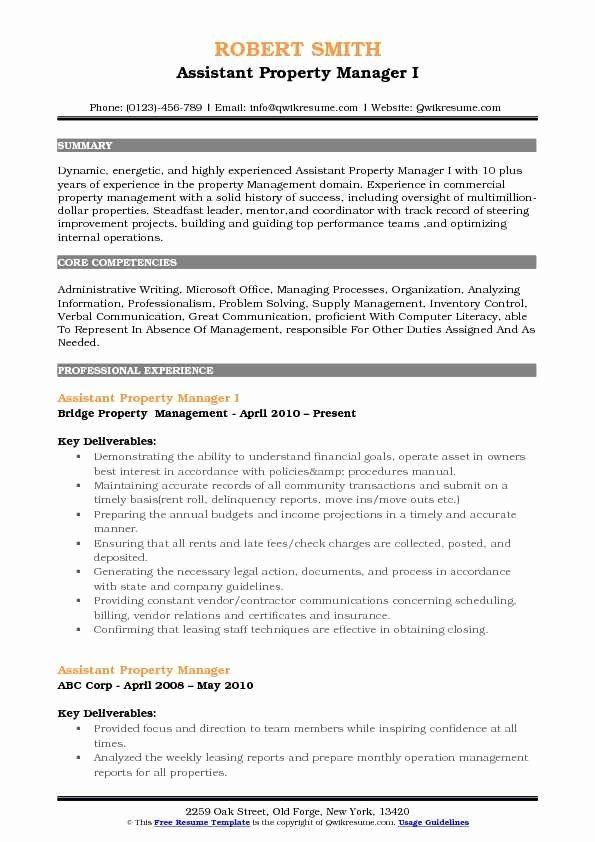 Assistant Manager Resume Description Luxury Assistant Property Manager Resume Samples In 2020 Project Manager Resume Manager Resume Good Resume Examples