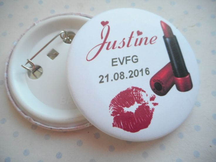 "Grand badge 56 mm collection ""rouge baiser EVJF"" Rouge, blanc, rouge à lèvre, mariage PERSONNALISABLE : Pins, badges par miss-coopecoll"