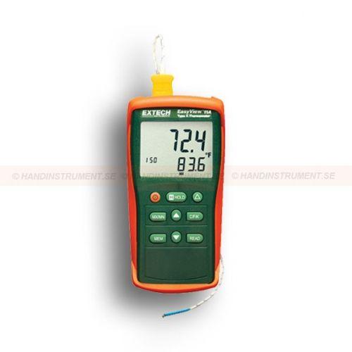 http://handinstrument.se/termometer-r1288/1-kanalig-termometer-typ-k-53-EA11A-r1496  1-kanalig termometer, typ K  Kompakt och robust design med stor LCD-display och hög kontrast  Spara manuellt och hämta upp till 150 st mätvärden  -50 till +1300 °C och med 0,1 °C / 1 °C upplösning  Sparar Max / Min / Average-avläsningar för senare återkallning  Offset-knapp som används för noll-ställning för att göra relativa mätningar  Data Hold, automatisk avstängning Garanti: 2 År