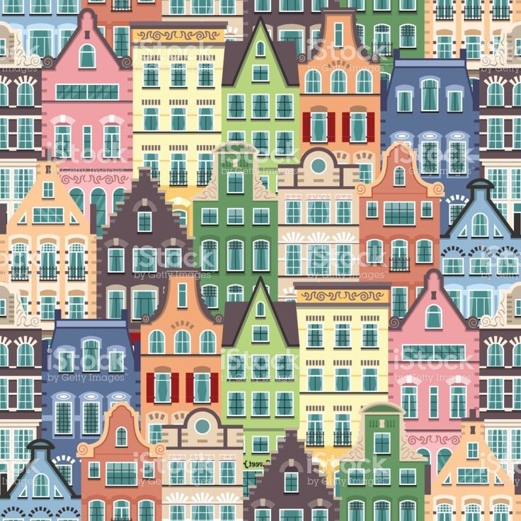 Seamless pattern of Holland old houses facades royalty-free stock vector art