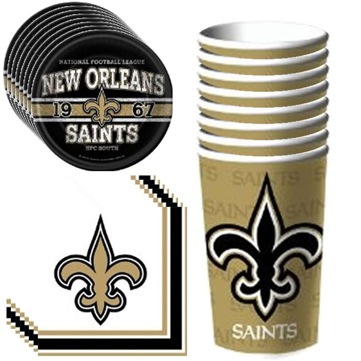 Amazon.com: NFL New Orleans Saints Party Supplies Pack Including Plates, Cups and Napkins- 8 Guests: Toys & Games