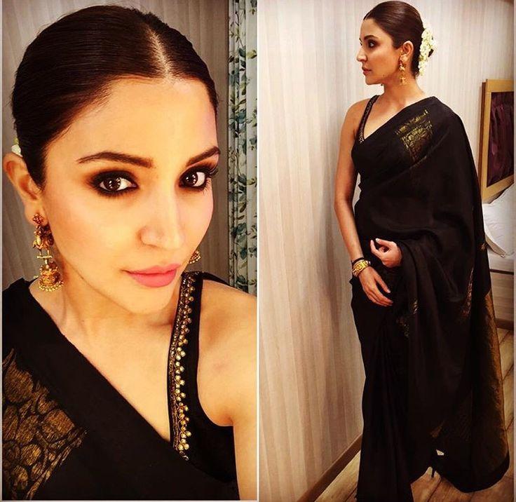 Anushka Sharma # black saree # classic black look # Indian fashion # Bollywood fashion
