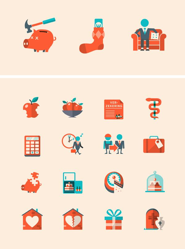 Playful lifestyle inspired icons