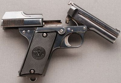 Nicolas Pieper's M1908/34 semi-automatic pistol Manufactured by Steyr in Austria for the Austrian police, who used the M1908 from 1934 to 1954.