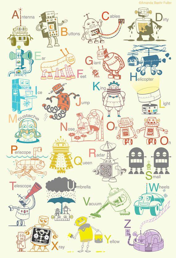 Large Robot Alphabet Art Print - wall decor for baby nursery or kids room - as seen on Apartment Therapy