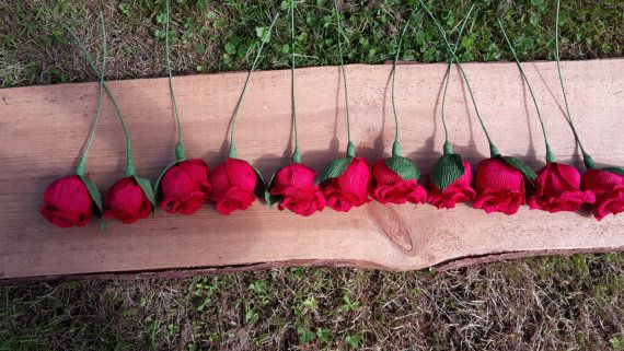 RED Wedding Crepe paper flowers table decorations by moniaflowers