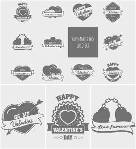 VALENTINE'S DAY LOGOTYPES VECTOR SET - http://freepicvector.com/valentines-day-logotypes-vector-set/