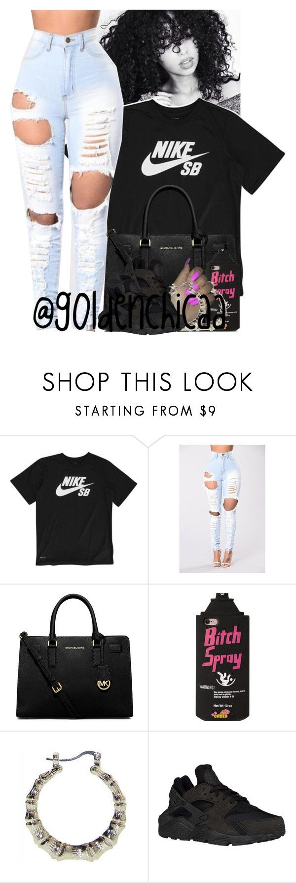 """My legs and abs are so dead from track practice ."" by g0ldenchicaa ❤ liked on Polyvore featuring NIKE and MICHAEL Michael Kors"