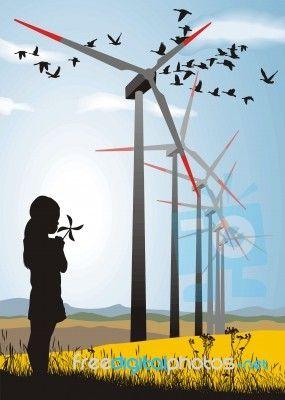 """Girl And Wind Turbine"" by Vlado at FreeDigitalPhotos.net"
