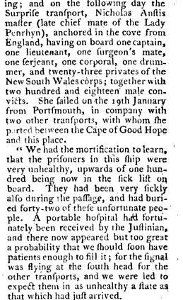 Convict Ship Surprize 1790