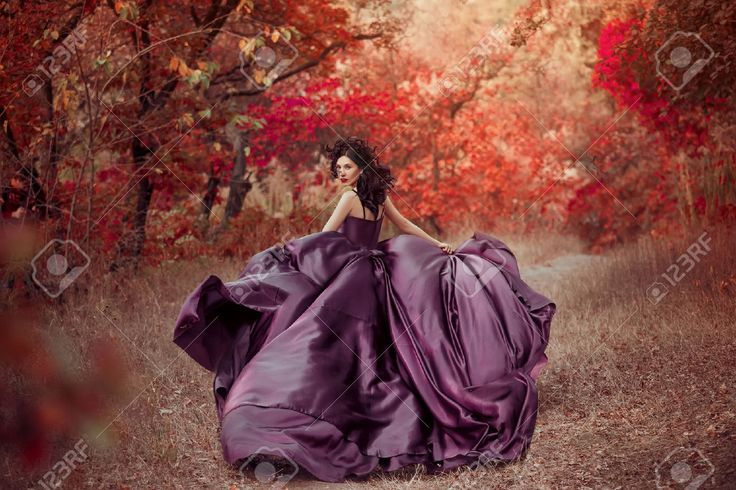 Lady In A Luxury Lush Purple Dress ,fantastic Shot,fairytale.. Stock Photo, Picture And Royalty Free Image. Image 52505440.
