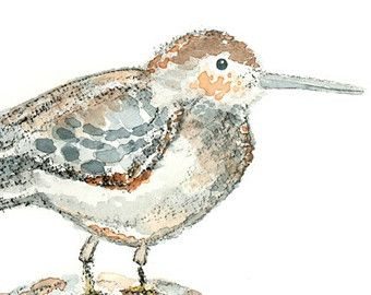Sandpiper, nautical decor, Beach Wall Art, Watercolor Bird Print, beach house Art, Whimsical Beach Art -  Piper Puff, Sweet Puff -  8x10