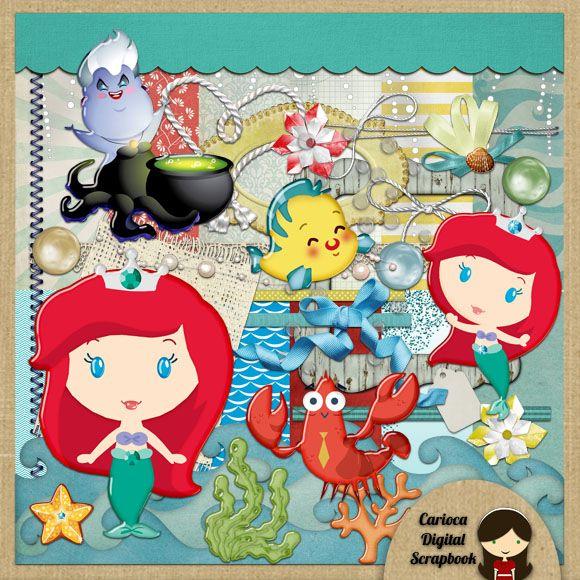 Cute Little Mermaid Digital Scrapbook Kit