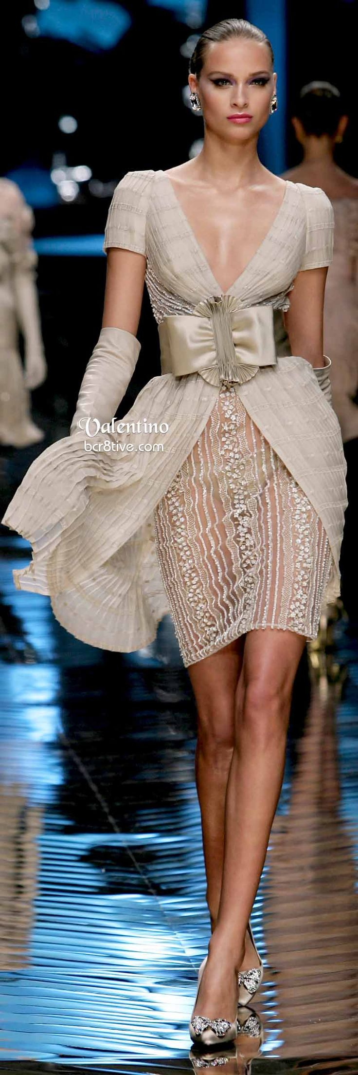 Light Coat Over Dress .. No Bow ..Valentino Sultry Neutral Evening Dress - Farewell Valentino Collection