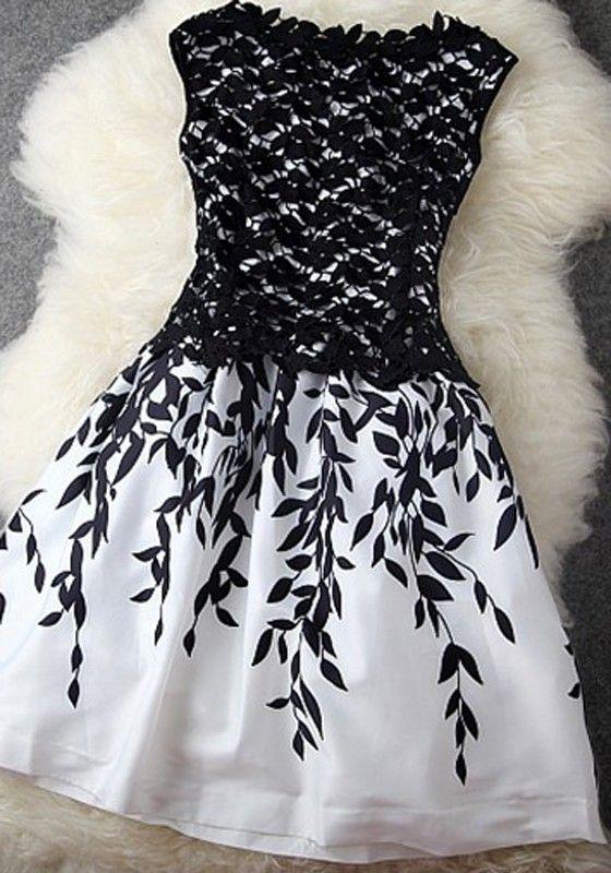 Black Patchwork Lace Leaves Print Double-deck Dress