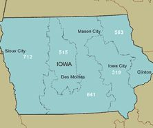 In 1947, lowa area code 515 was introduced and it covers Des Moines, Ames, Fort Dodge and Boone. It currently covers one-quarter of the area it originally did. https://www.checkthem.com/blog/ia-area-codes/