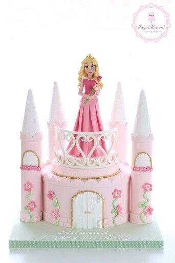 Castle cake with princess Aurora