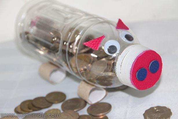 59 best ideas about piggy bank on pinterest coins diy for Plastic bottle piggy bank craft