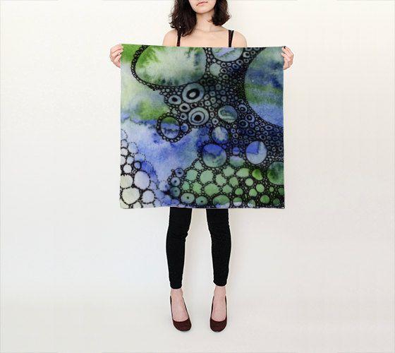 Square Womens Silk Chiffon Scarf | 100& pure silk | blue, green, doodle…