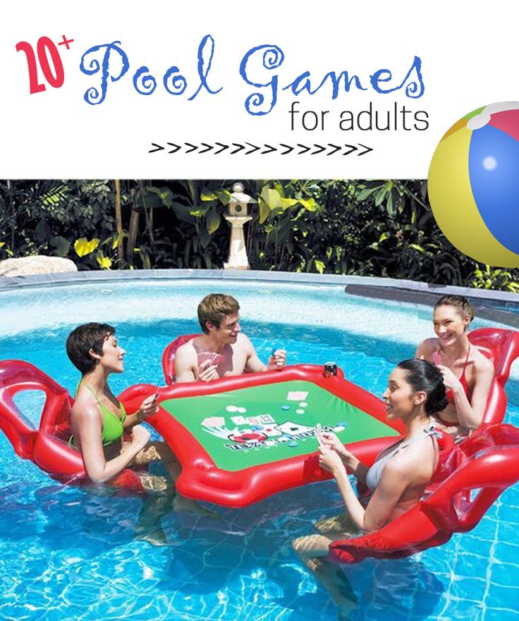 20+ Amazing Pool Games to take your Pool Party to a whole other level!  Swimming Pool Games for Adults includes epic game ideas like floating poker, awesome floaties and floating kanjam.