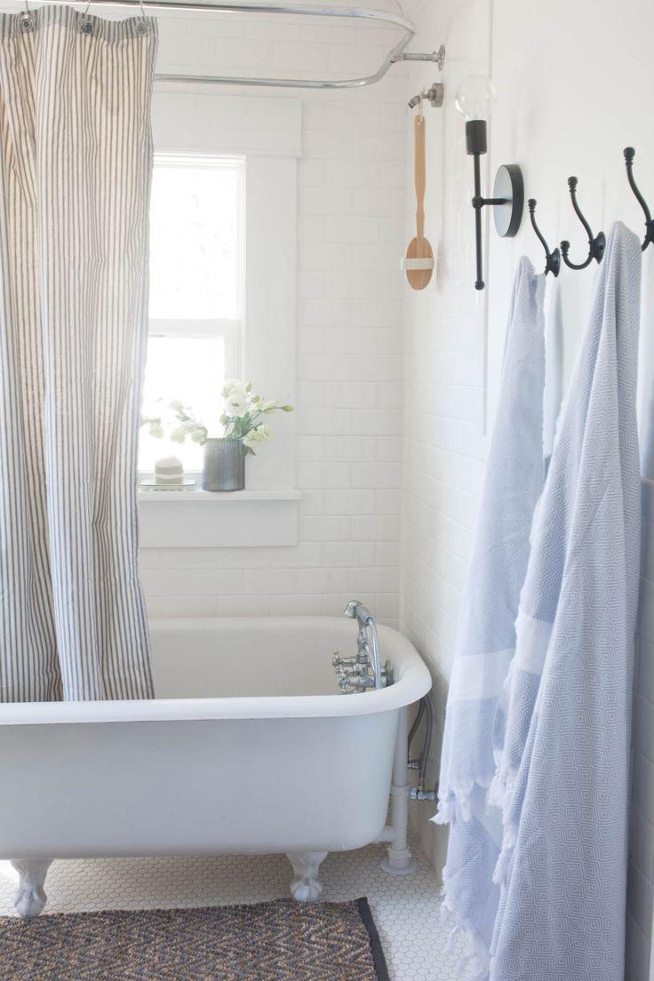 Farmhouse Bathroom Makeover Turkish Towels and Clawfoot Tub
