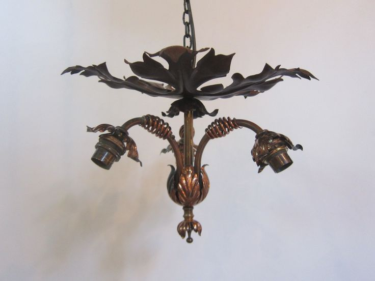 English close fitting three arm ceiling light in copper, brass and iron, clearly inspired by the work of WAS Benson. www.antiquelightingcompany.com