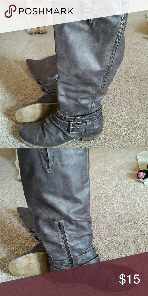 Carlos Santana boots Tall grey boots Carlos Santana Shoes Combat & Moto Boots