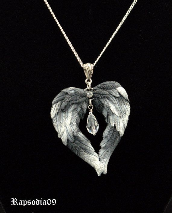 Jewelry pendant wings heart Polymer clay pendant heart White black wings heart pendant Valentines day gift