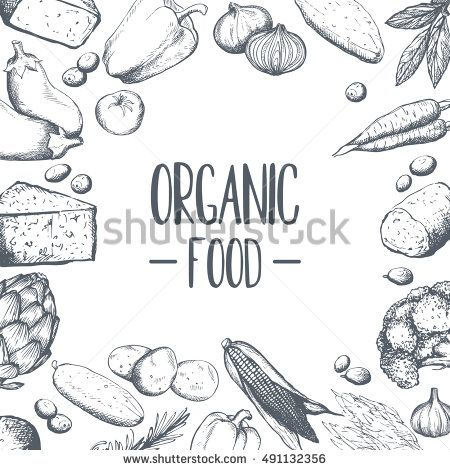 Organic products. Hand drawing, lettering, graphics, bar. For your business Vector illustration