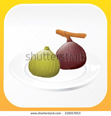Illustrations of a ripe fig and an unripe fig - stock vector  #sweet #organic #vegetable #ingredient, #fruit #fresh #nature #shutterstock