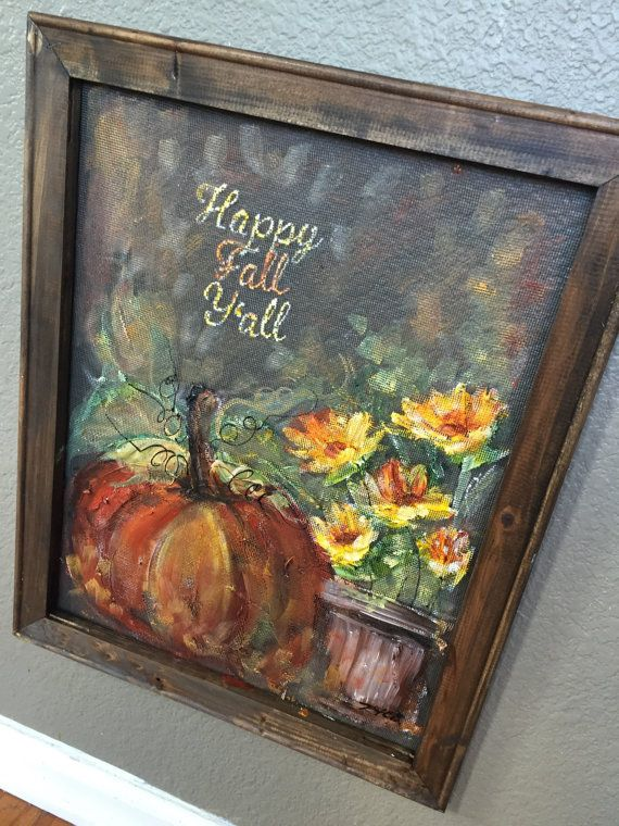 Happy fall y'all outdoor art, fall sign , fall decor , window screen hand painting-MADE TO ORDER