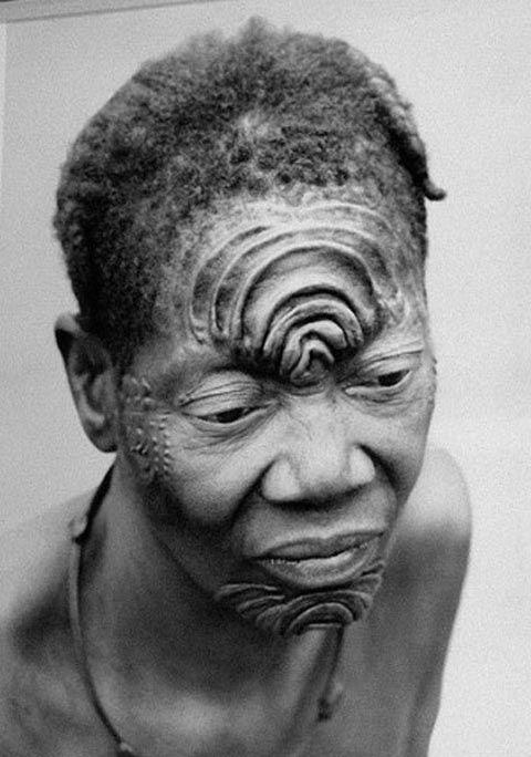 Bangala Woman with tribal scars.