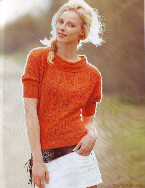 оранжевые пуловеры спицами - Поиск в Google