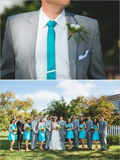 Gray and aqua wedding... I'm not sure if I like this or the pink and green theme better... ??? I can't make any groomsmen wear pink ties though. :p