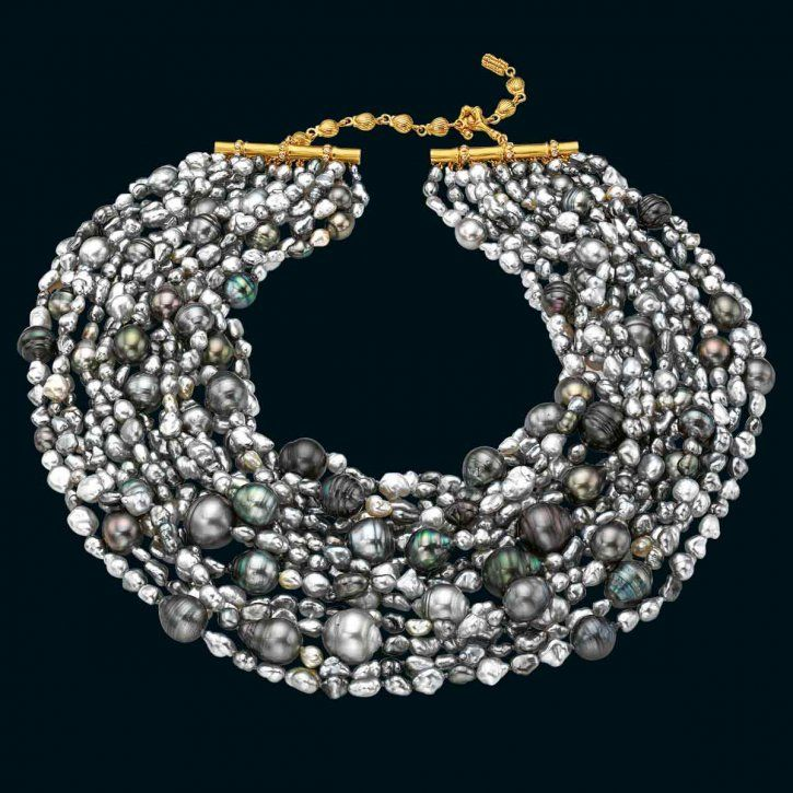 Mermaid necklace with Tahitian keshi and cultured baroque pearls with an 18-carat gold and diamond adjustable clasp by Mish New York