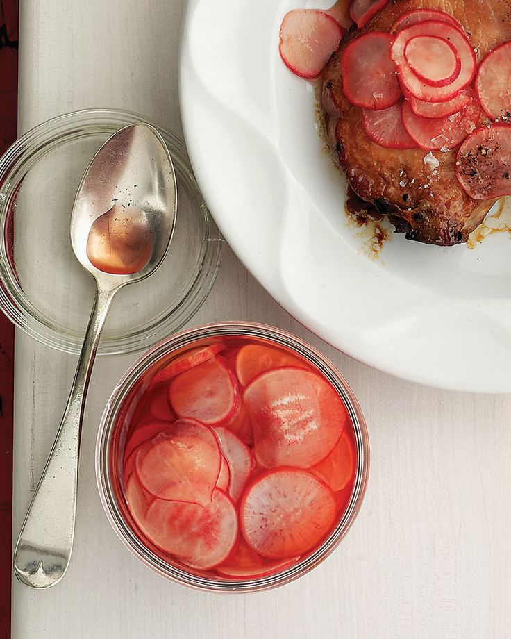 Quick Pickled Radishes via Martha Stewart | Try these in roast beef sandwiches or as a relish for poultry or grilled meats.