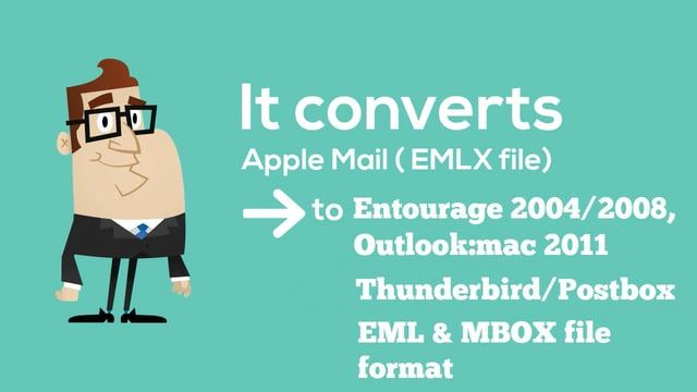 Now easily convert your Apple Mail/ EMLX to Outlook 2011, Entourage 2004/2008, Thunderbird, EML, MBOX with MAIL EXTRACTOR MAX. MAIL EXTRACTOR MAX is an email migration tool which convert your mail as they are.  It will: Preserve Email Items Maintain Hierarchy of Folders Supports all Languages Convert Attachments as they are Fast and Easy to use  For More Info Visit us at: http://www.mailextractormax.com/