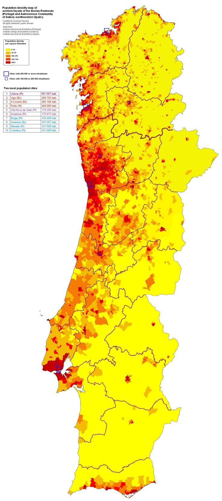 Population density of the western façade of the Iberian Peninsula (Portugal and the Autonomous Community of Galicia -northwestern Spain)