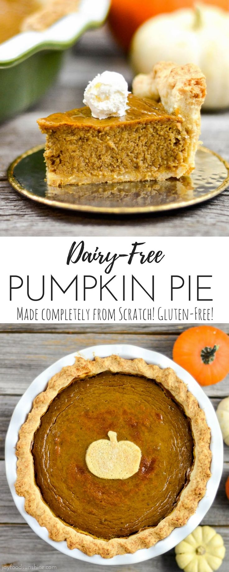 Homemade Dairy-Free Pumpkin Pie recipe from scratch! NO sweetened condensed milk! Fresh, delicious & the perfect Thanksgiving dessert!