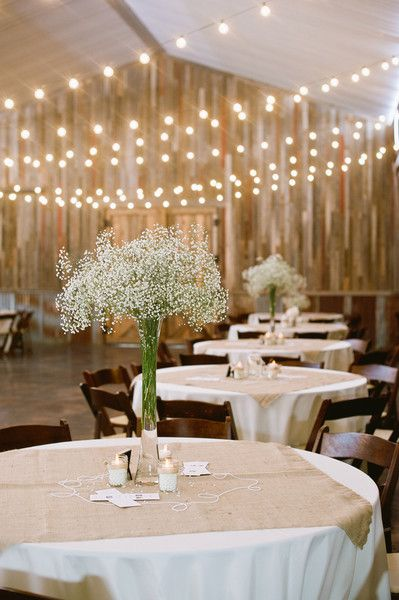 Gorgeous and simple #centerpieces made from #babysbreath {Lissa Anglin Photography}