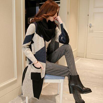 nieuwste stijl herfst winter vrouwen merk hit kleur geometrische patronen lang vest gebreide trui vrouwen kleding jassen bovenkleding(China (Mainland))