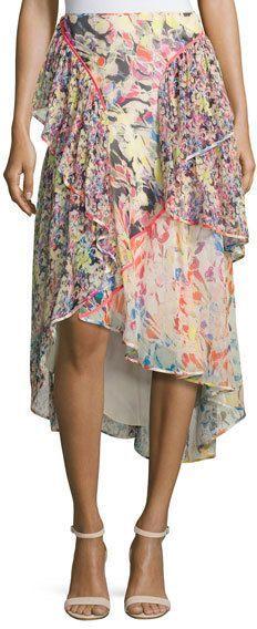 Jason Wu Floral-Print Chiffon High-Low Skirt, Multi